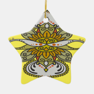 abstract ethnic flower ceramic ornament