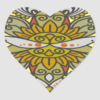 abstract ethnic flower heart sticker