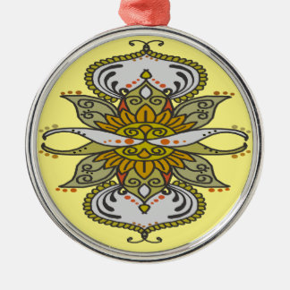 abstract ethnic flower metal ornament