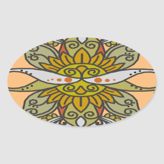 abstract ethnic flower oval sticker