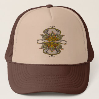 abstract ethnic flower trucker hat