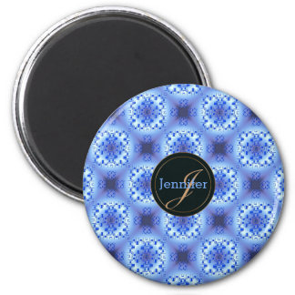 abstract ethnic   geometric  blue pattern. magnet