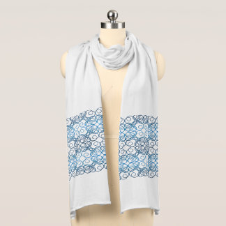 abstract ethnic   geometric  blue pattern. scarf