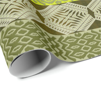 abstract ethnic geometric green striped pattern. wrapping paper