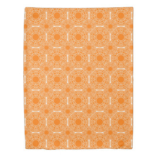 Abstract ethnic orange geometric pattern. duvet cover