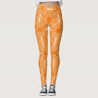 Abstract ethnic orange geometric pattern. leggings