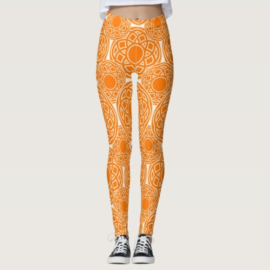 Abstract ethnic orange geometric pattern. leggings
