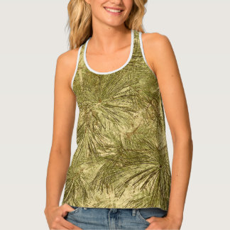 Abstract evergreen needles camouflage rustic tank top
