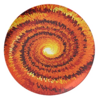 Abstract Expanding Yellow, Orange Spiral Plate