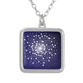 Abstract Explosion Silver Plated Necklace