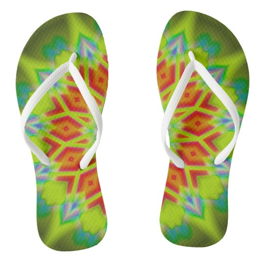 Abstract Explosion Slim Straps Flip Flops