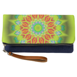 Abstract Explosion Teal Fold-Over Clutch