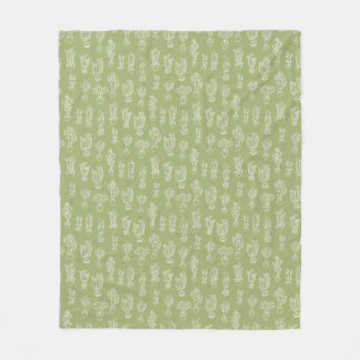 Abstract Expressionism Cactus Line Art Pattern Fleece Blanket
