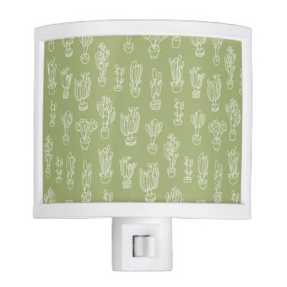 Abstract Expressionism Cactus Line Art Pattern Night Light