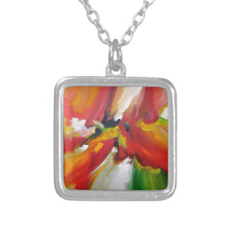 Abstract Expressionism Painting Silver Plated Necklace