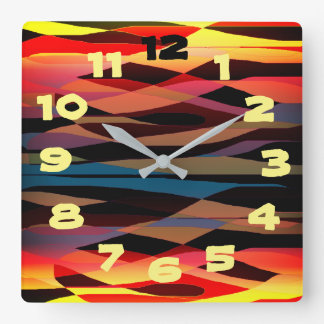 Abstract Expressionism Square Wall Clock
