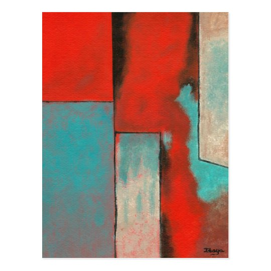Abstract Expressionist Art Painting Red Turquoise Postcard