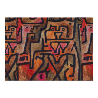 Abstract Expressionist Red Paul Klee art Poster