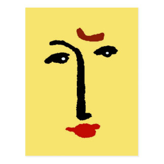 Abstract Face In Yellow Postcard