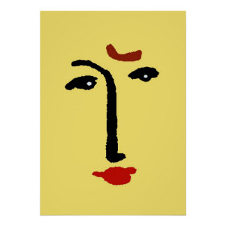 Abstract Face In Yellow Posters
