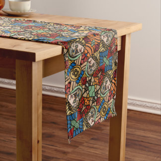 Abstract Faces Pattern Long Table Runner