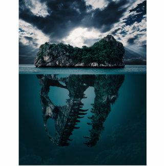 Abstract Fantasy Artistic Island Photo Sculpture Button