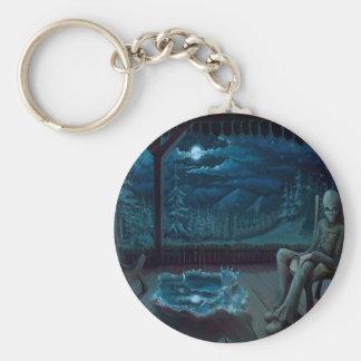 Abstract Fantasy Late Night Alien Keychain