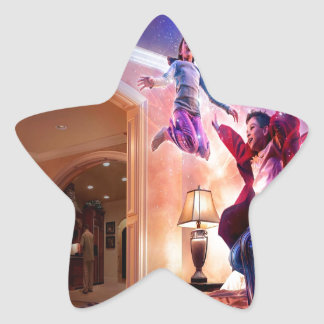 Abstract Fantasy Peter Pan Celebration Star Sticker