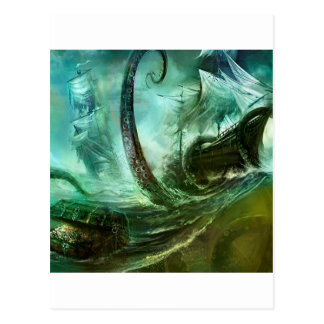 Abstract Fantasy Pirates Nightmare Treasure Postcard