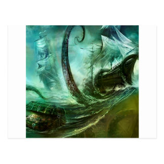Abstract Fantasy Pirates Nightmare Treasure Post Card