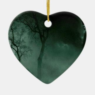 Abstract Fantasy Standing Alone Night Ceramic Heart Ornament