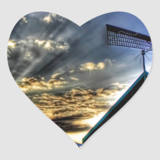 Abstract Fantasy Super Windmill View Heart Sticker