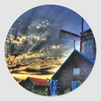 Abstract Fantasy Super Windmill View Round Stickers