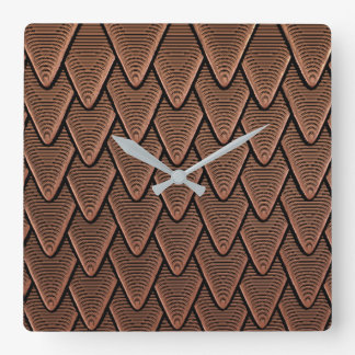 Abstract Faux Copper Square Wall Clock