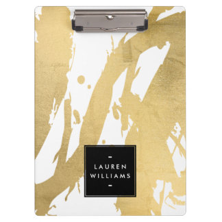 Abstract Faux Gold Brushstrokes on White Clipboards