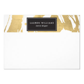 Abstract Faux Gold Brushstrokes on White II Card