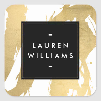 Abstract Faux Gold Brushstrokes on White Square Sticker