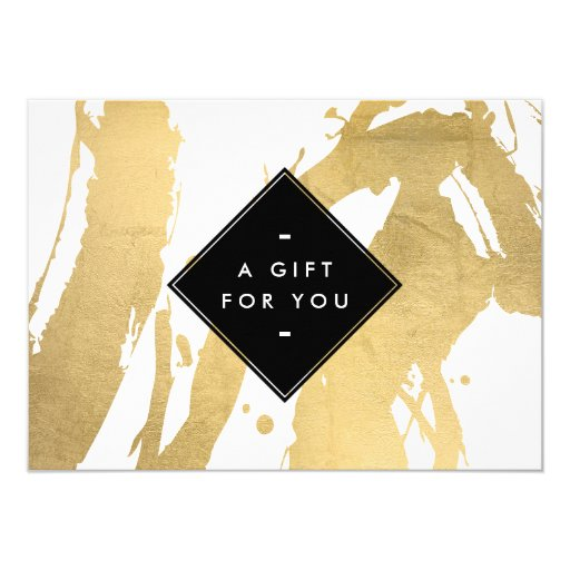Abstract faux gold foil brushstrokes gift card 4 5 x for X salon mulund rate card