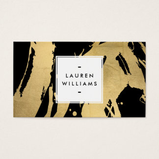 Abstract Faux Gold Foil Brushstrokes on Black Business Card