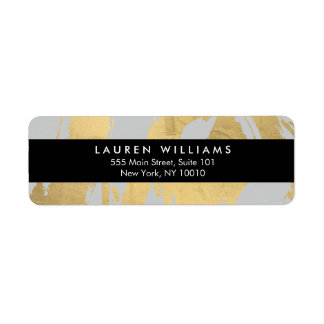 Abstract Faux Gold Foil Brushstrokes on Gray Return Address Label