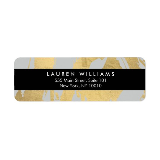 Abstract Faux Gold Foil Brushstrokes on Grey