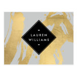 Abstract Faux Gold Foil Brushstrokes on Grey Postcard