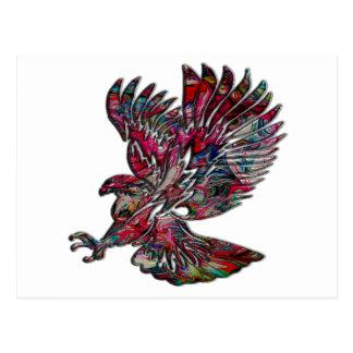 Abstract Faux Metallic Tribal Eagle Postcard