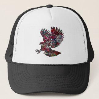 Abstract Faux Metallic Tribal Eagle Trucker Hat
