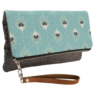 Abstract Feathers With Hearts Pattern Clutch