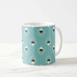 Abstract Feathers With Hearts Pattern Coffee Mug
