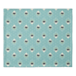 Abstract Feathers With Hearts Pattern Duvet Cover