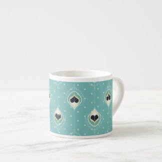 Abstract Feathers With Hearts Pattern Espresso Cup