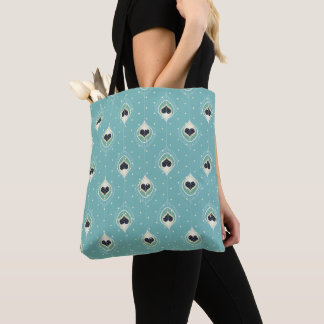 Abstract Feathers With Hearts Pattern Tote Bag