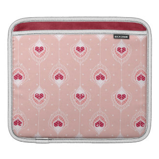 Abstract Feathers With Red Hearts Pattern iPad Sleeve